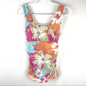 Cabi | #302 floral ruched side sleeveless top